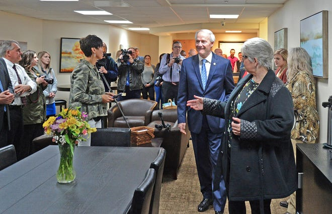 Gov. Asa Hutchinson tours the Sebastian County Crisis Stabilization Unit on Feb. 28, 2019, during a ribbon-cutting event.