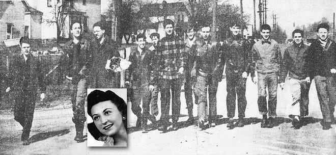 """Lola Celli (inset) was reported missing from near her family home in Grandview Heights in February 1946. Still a cold case, it was called """"the red shoe mystery."""" The case has been featured on network television cold-case shows. The boys in the photo were among the more than 150 high schoolers from Grandview and Upper Arlington who had been recruited to help look for Celli."""