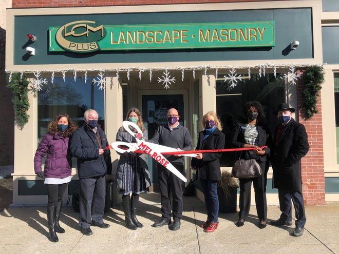 The Melrose Chamber of Commerce and Mayor Paul Brodeur recently celebrated local business, LCM PLUS and owner Joe Guarino, on 35 years in business, by cutting a ribbon on the next phase. LCM PLUS provides landscaping, masonry and design-build services, as well as holiday and event lighting.