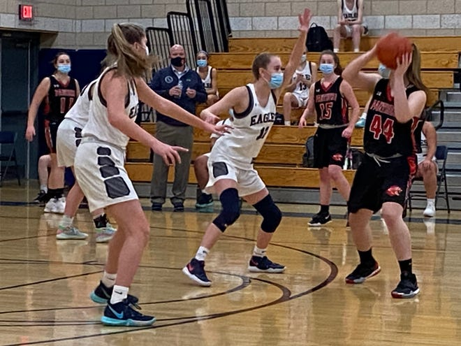 Whitman-Hanson's Cailen Hurley deals with defensive pressure from Plymouth North's Sophie Allen. [Wicked Local Photo/David Wolcott Jr.]