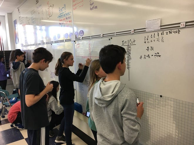 A WEEFC grant helped to purchase whiteboards in classrooms.