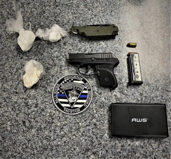 State Police charged Antenor Ruddy, 34, of Randolph with possessing an illegal gun and cocaine trafficking after a traffic stop in Brockton Wednesday, Feb. 17.