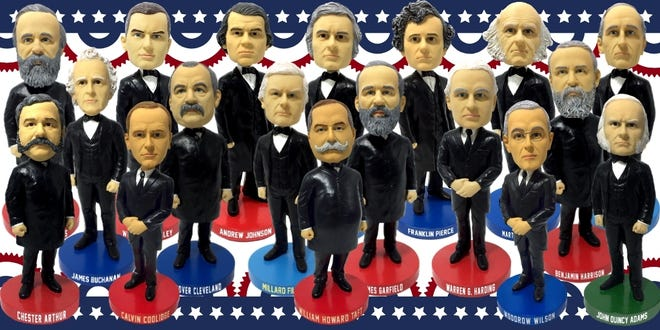On Friday, the National Bobblehead Hall of Fame and Museum unveiled bobbleheads of 18 United States Presidents.