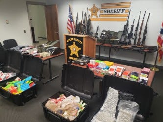 Here's some of the loot officers with the Butler County Undercover Regional Narcotics (BURN) Task Force found when they executed search warrants at homes in Trenton and Hamilton Thursday.