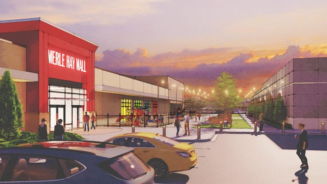 A rendering by the Woolpert architectural firm of a new shopping plaza planned for Merle Hay Mall.