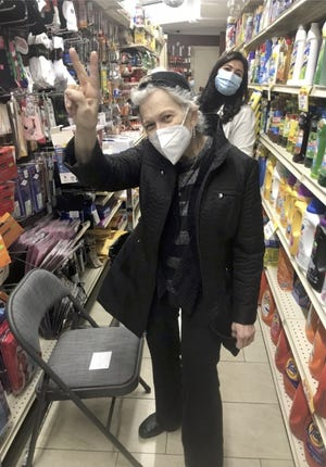 Insider Editor Andrea Sachs after receiving a Moderna vaccine in the Detergent Aisle at the Wellness Pharmacy in Manhattan.
