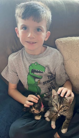 Bradley Lewis, age 7, sits on his couch with sibling cats Lily (pink collar) and Snowball in their home in Katy, Texas. The family used a 2021 Ford F-150 Hybrid truck with Pro Power Onboard to generate electricity for their space heaters. Bradley and cats slept on the living room couch, where it was warmest, his father said.