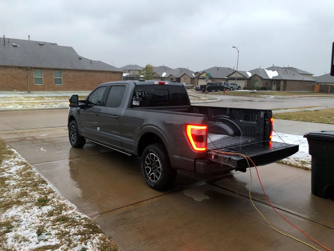 During the power outage amid frigid temperatures, Aaron Lewis borrowed a 2021 Ford F-150 Hybrid truck with Pro Power Onboard from AutoNation Ford Katy on Tuesday, February 16 and took this picture the following morning as it continued to power his space heaters and air fryer.
