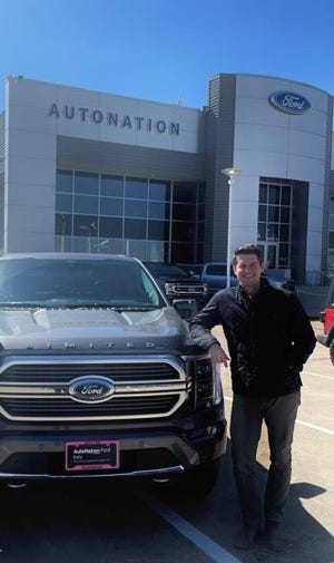 Ryan Laskowski, pictured at AutoNation Ford Katy on February 19, 2021, is general manager of a dealership that is seeing firsthand how the 2021 Ford F-150 Hybrid truck with Pro Power Onboard is impacting Texans during the blackout.
