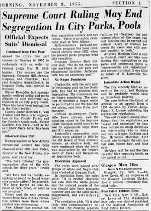 This Nov. 8, 1955, edition of the Courier Journal addresses the eventual end of segregation in Louisville public pools and parks.