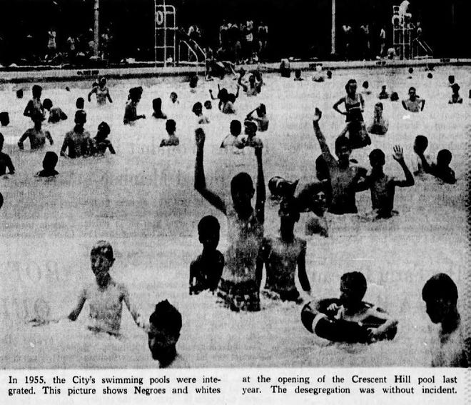 A photo taken from the June 30, 1963, edition of the Courier Journal shows an integrated public swimming pool at Crescent Hill in 1955.