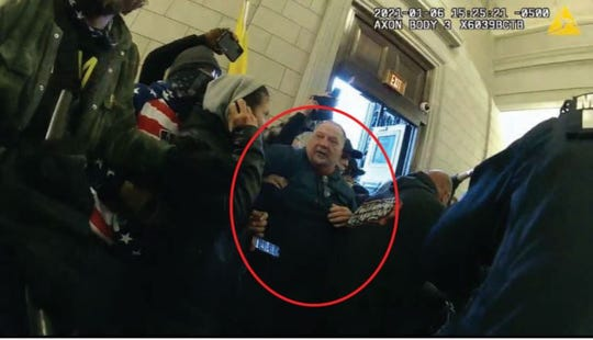 North Cornwall Township police officer Joseph Fischer has been arrested by the FBI in connection with the U.S. Capitol riot in January, according to officials. Photo taken from body camera footage, according to the complaint.