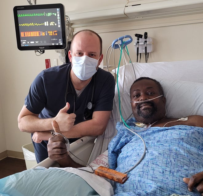 Chane Wells (right) is pictured with Dr. Matthew Raley at Willis-Knighton.