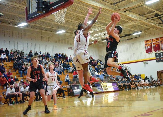 Brandon Valley's Jaksen Deckert jumps up to make a basket on Thursday, Feb. 18, at Roosevelt High School in Sioux Falls.
