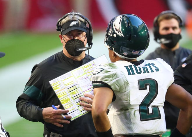 Ex-Eagles head coach Doug Pederson replaced starter Carson Wentz with Jalen Hurts late in the 2020 season.