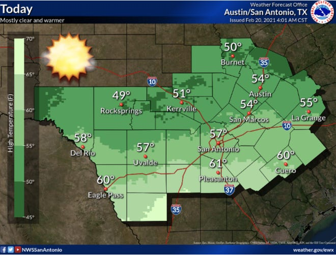 National Weather Service forecast for Saturday, Feb. 20