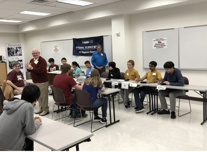 Students participate in the in-person 2020 high school Science Bowl competition at West Texas A&M University.