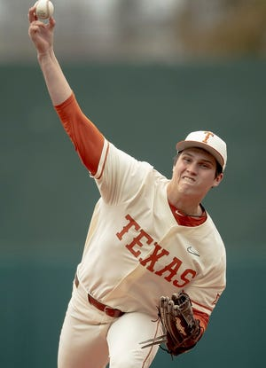 Texas pitcher Ty Madden, seen in a game last season, held the top five batters in Mississippi State's lineup to no hits in 12 at-bats, but the bottom four went 4-for-5 with three RBIs, four runs and three walks.