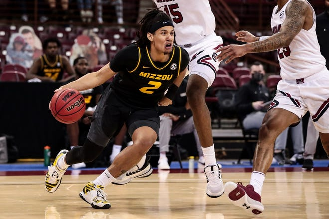 Missouri guard Drew Buggs (2) looks to make a play against South Carolina during a game Feb. 20 in Columbia, S.C.
