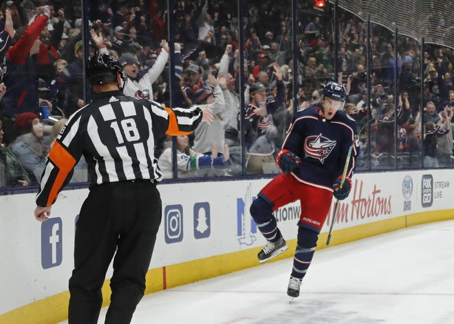 It will be a while before Nationwide Arena is filled with fans celebrating moments such as this goal by Riley Nash last March, but a ruling allowing Blue Jackets games to be played at 10% capacity is a start.
