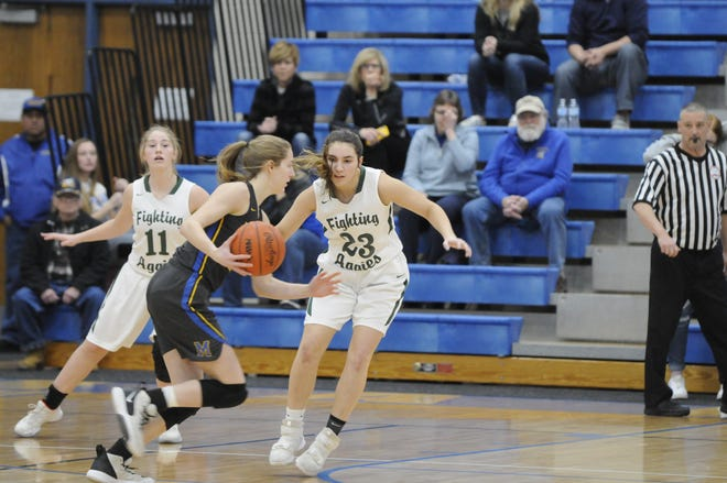 Madison's Carly Anschuetz, foreground, moves with the ball as Sand Creek's Alex Waltz (23) guards her during a Division 3 district final game at Madison on March 6, 2020.