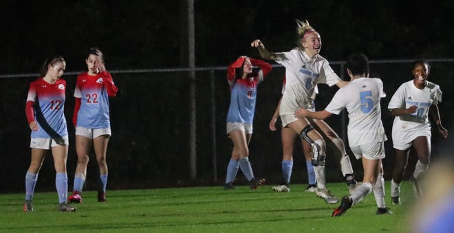 Ponte Vedra's Tamlym Parkes reacts running to teammates after scoring the winning goal, against Seabreeze on Feb. 19, 2021, during overtime.