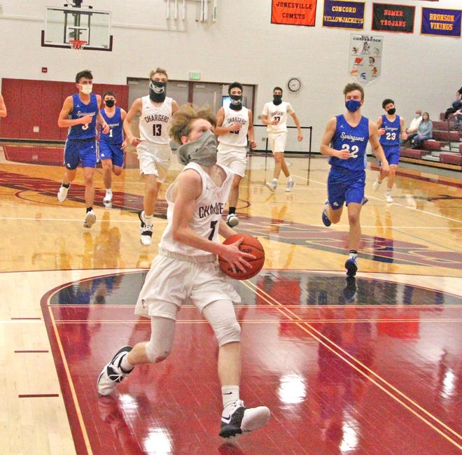 Union City guard Caden Marshall coasts in on a breakaway for two points versus Springport Friday night.