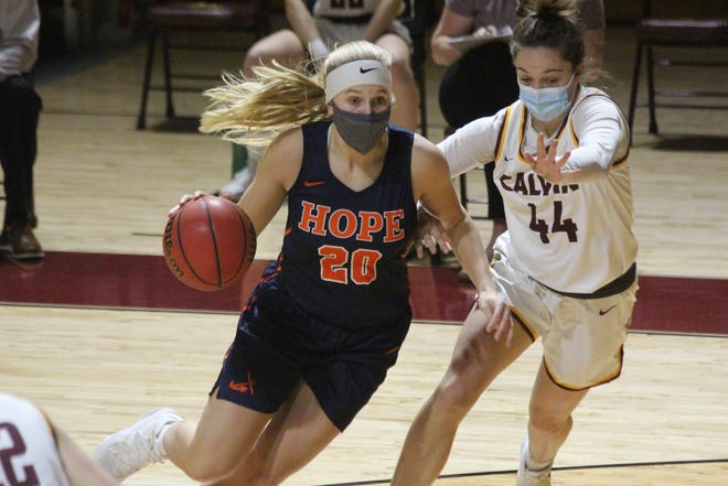 The Hope College women's basketball team took on Calvin University on Saturday, Feb. 20, 2021 in Grand Rapids