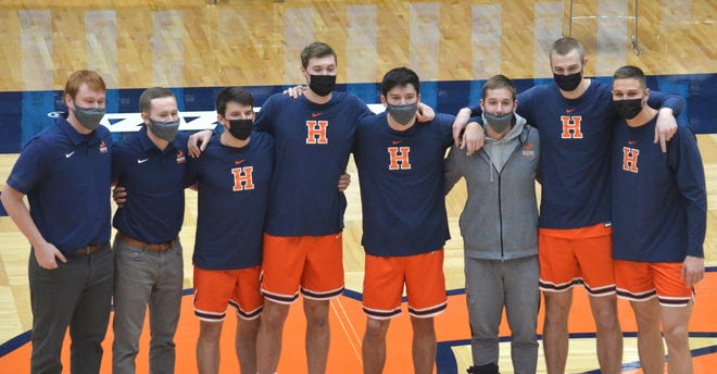 Hope seniors Kyle Grennes, Logan Housenga, Danny Beckman, Ryan Gamm, Jake Honer, Calvin Hackert, Sam Vree and Preston Granger on senior day at Hope.