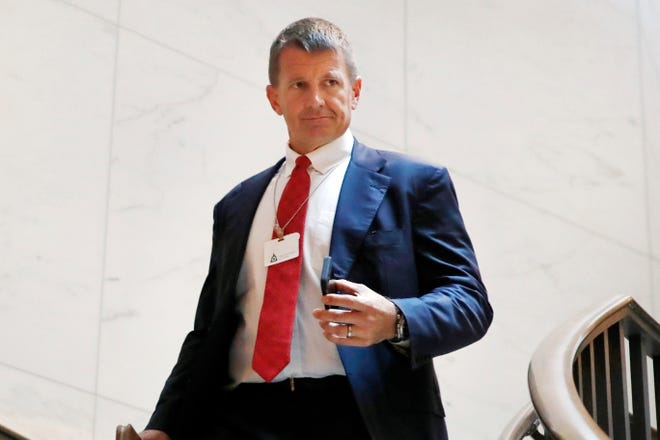 Blackwater founder Erik Prince arrives for a 2017 meeting with members of the House Intelligence Committee on Capitol Hill in Washington. Prince, a major Republican donor and founder of controversial security firm Blackwater, has been referred to the U.S. Treasury Department for possible sanctions violations tied to his recent trip to Venezuela for a meeting with a top aide of President Nicolas Maduro, two senior U.S. officials said. (AP Photo/Jacquelyn Martin)