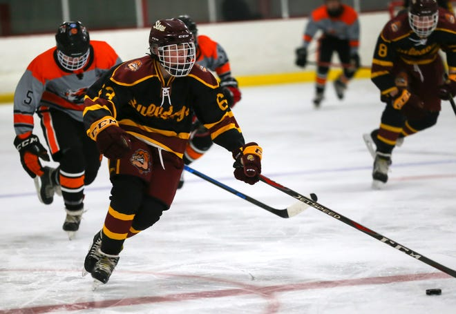 Stow-Munroe Falls' George Riegler skates the puck over the red line during the Bulldogs' 6-5 loss to Chagrin Falls Friday at The Pond at Auburn.