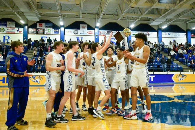 Frenship reacts to winning the 6A District II Championship game against Permian in Frenship High School on Saturday, Feb. 20, 2021, in Wolfforth, Texas. [Justin Rex/For A-J Media]