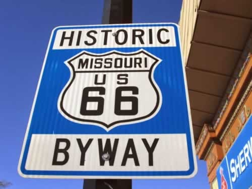 A Route 66 road sign.