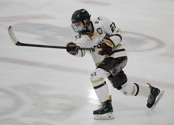 Algonquin senior captain Kerryn O'Connell takes a slap shot against  Shrewsbury in a game on Feb. 19, 2021.