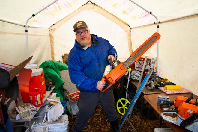 Antony Abel oversees the Blue River Tool Library Community that makes tools available to people cleaning up from the Holiday Farm Fire.