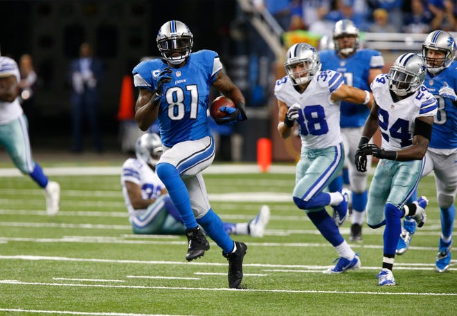 Lions wide receiver Calvin Johnson (81) breaks free for a 87-yard reception against the against the Dallas Cowboys in the first half of a game in Detroit, Sunday, Oct. 27, 2013. (AP Photo/Duane Burleson)