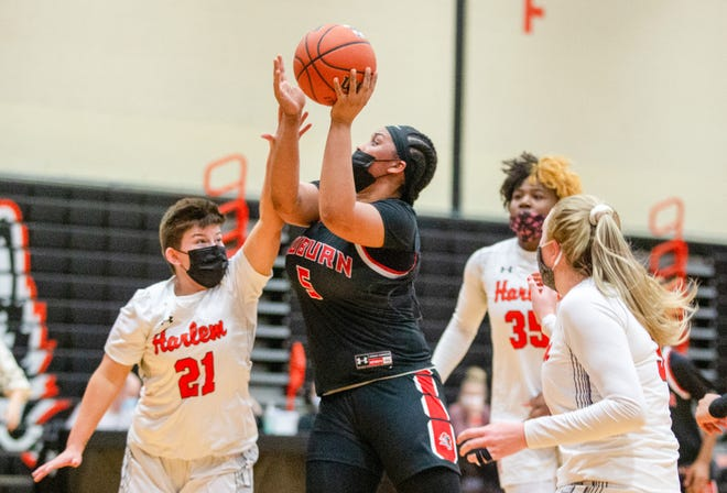 Auburn junior forward Brooklyn Gray, shown shooting at Harlem, led the NIC-10 in scoring with 18.6 points a game during the 2021 girls basketball season.