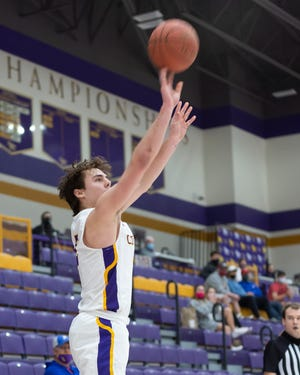 Kansas Wesleyan's Easton Hunter (5) puts up a shot during the first half against Avila Saturday afternoon at Mabee Arena.