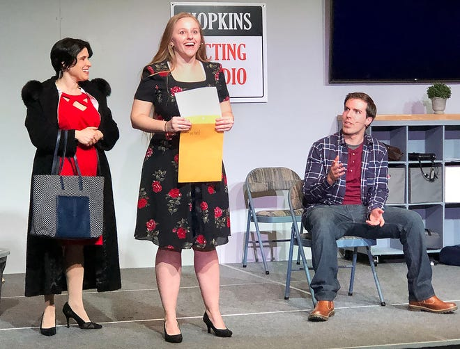 """From left, Carrie Greenberg, Caroline Clay and Tim Clayton in a scene from the musical """"The Best of Me"""" at the Carlisle Inn."""