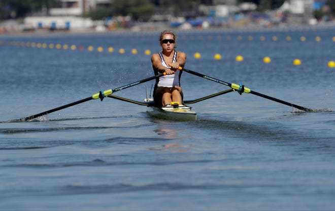 Genevra Stone, shown here rowing for a silver medal in the women's rowing single sculls final during the 2016 Summer Olympics in Rio de Janeiro, Brazil on Aug. 13, 2016, will compete at the U.S. Olympic Rowing Trials beginning Monday at Nathan Benderson Park.