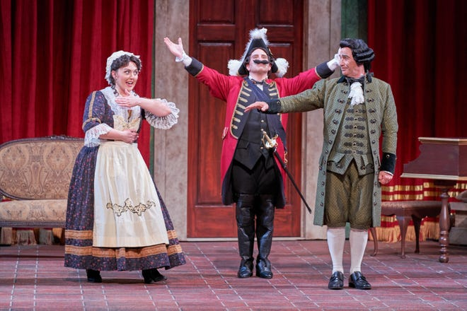 """""""Maid to Mistress"""" has a small cast of just three characters – Anna Mandina, left, as Serpina, James Eder as Vespone and Stefano de Peppo as Uberto – allowing Sarasota Opera to minimize COVID-19 risks in rehearsal and production."""