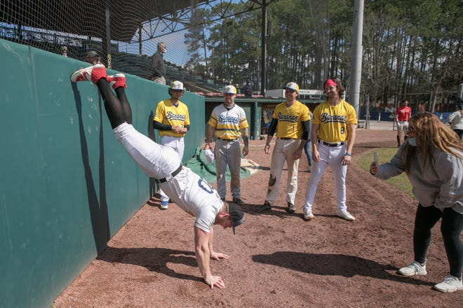 Bill Pearson, from Winfield, Illinois, shows some acrobatic ability during tryouts for the Savannah Bananas Premier Team on Feb. 20 at Grayson Stadium. Pearson make the team. [RANDY THOMPSON/SAVANNAHNOW.COM FILE PHOTO]