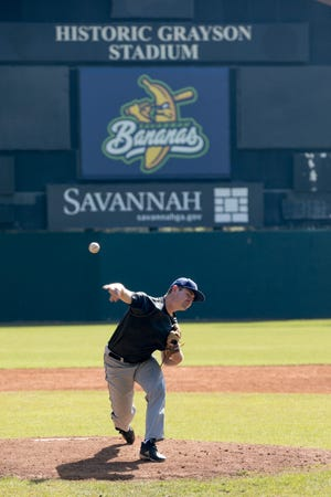 Stephen Chamblee, from Tampa, Florida, pitches during Saturday's tryouts at Grayson Stadium for the Savannah Bananas Premier Team. Chamblee made the roster for the Savannah Bananas Premier Team/Party Animals.