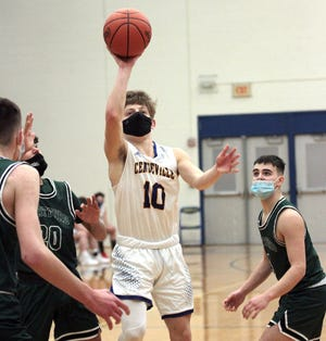 Gunner Bunning puts up a shot against Hartford in prep hoops action on Friday night.