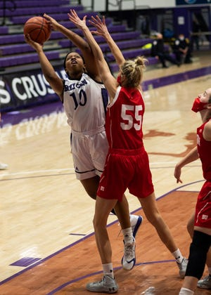 WORCESTER - Holy Cross' Janelle Allen takes a shot during the game against BU on Saturday, February 20, 2021.