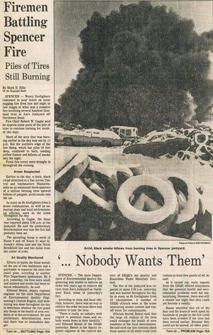 A Worcester Telegram news clipping from Feb. 12, 1986, detailing the Joe's Junkyard Fire in Spencer.