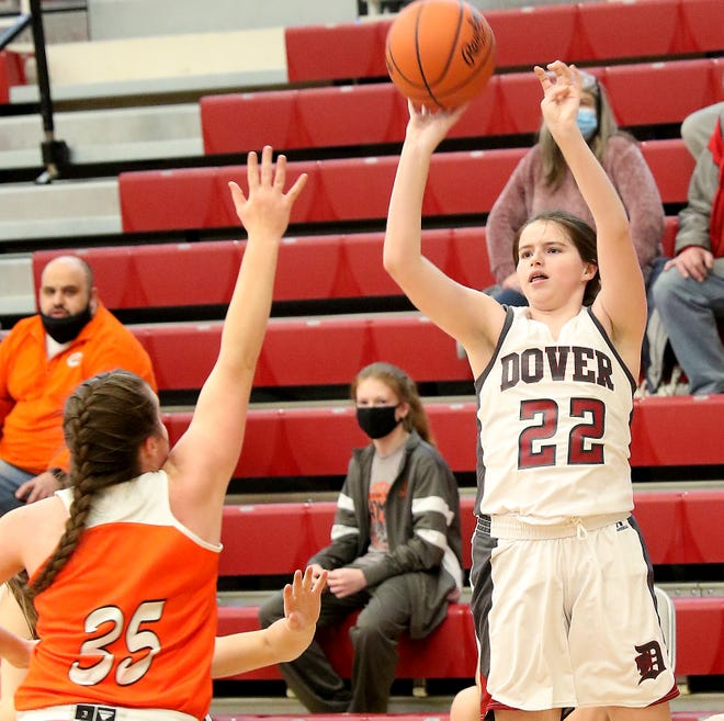 Dover's Tori Jones shoots a 3-pointer over Claymont's Jordan Gibson Saturday afternoon.