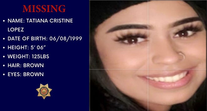 A flyer for missing Victorville woman Tatiana Lopez.