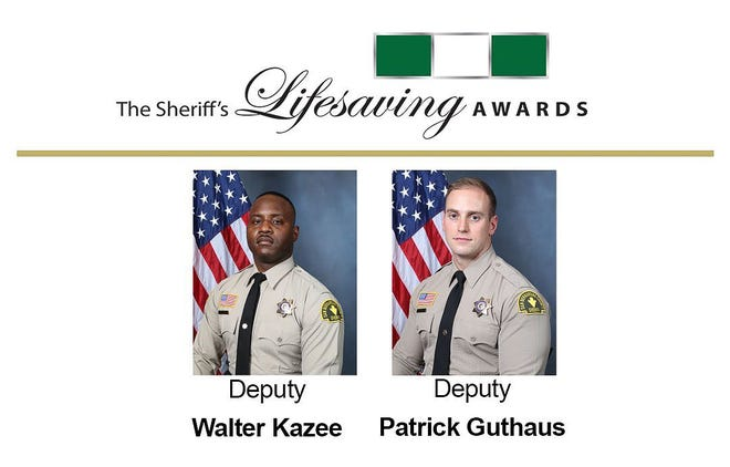 San Bernardino County Sheriff's deputies Walter Kazee and Patrick Guthaus were awarded for their actions during a machete attack on Aug. 10, 2020.