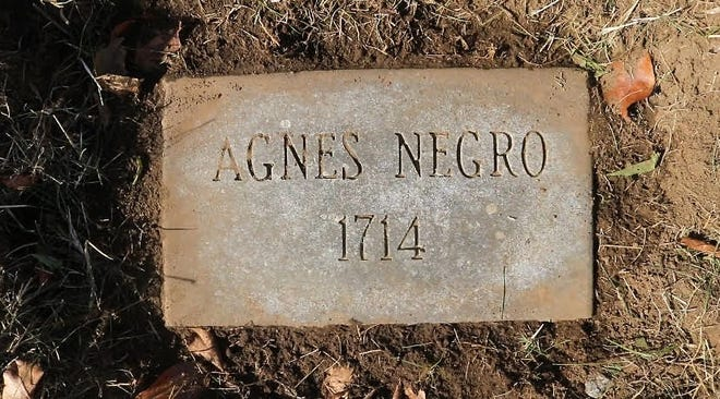 Agnes' current grave marker at Old Burial Hill